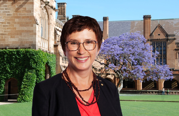 Professor Lisa Jackson Pulver in front of the Quad (digitally altered image)
