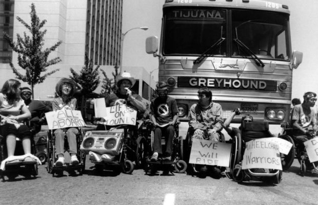 [image: wheelchair users protesting Greyhound bus inaccessibility in the US in the 80s]