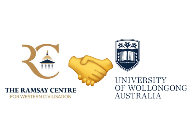 A graphic showing the Ramsay Centre logo and the University of Wollongong logo with a hand-shake emoji in between