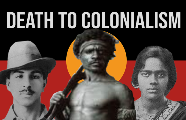 "Bhagat Singh, Pemulwuy and Pritilata Waddedar standing in front of an Aboriginal Flag. ""Death to Colonialism"" is imprinted on the flag."