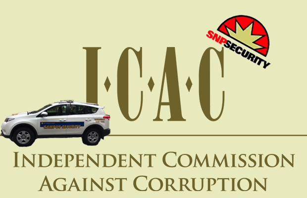 ICAC logo reads Independent Commission against Corruption and photograph of campus security car and SNP security logo