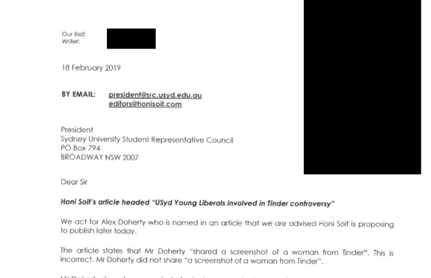 Legal letter sent to Honi regarding the inclusion of Alex Doherty in the Honi Soit article
