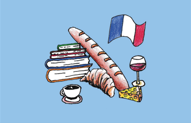 An illustration of some books, a baguette, a glass of red wine and the French flag