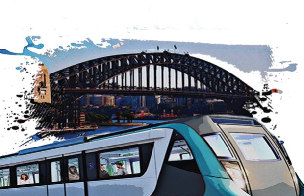 Image of a metro car running in front of the harbour bridge