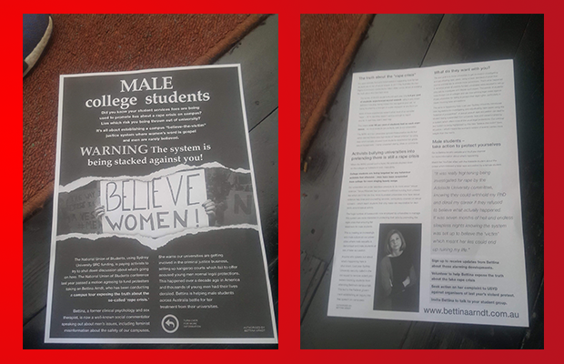 2 flyers in support of conservative commentator Bettina Arndt