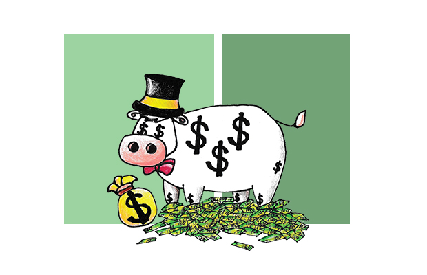 A cow with dollar signs on it standing in a pile of dollars