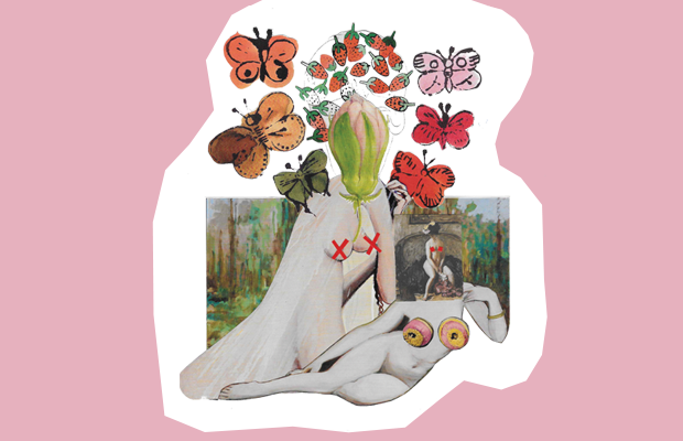 Collage artwork depicting the nude female body, censored by butterflies and flowers.