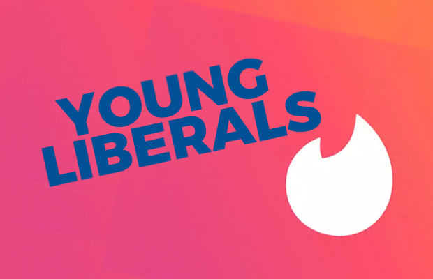 Text reading 'YOUNG LIBERALS' on a red background, featuring the Tinder logo.