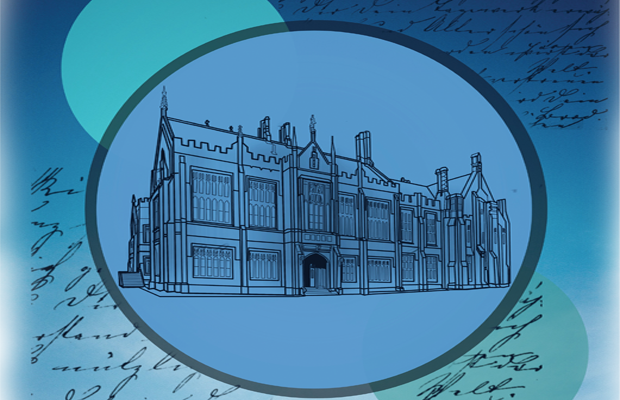 Anderson Stuart building stencilled and outlined on a blue background with white vignette