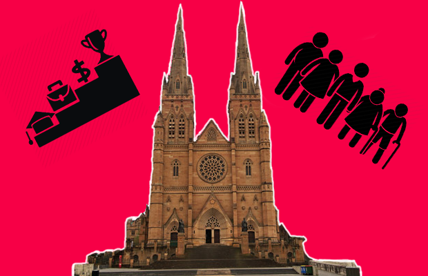 Photograph of St mary's cathedral in Sydney alongside graphics of multi-generational family and a set of steps depicting common objectives including education, career, money etc.