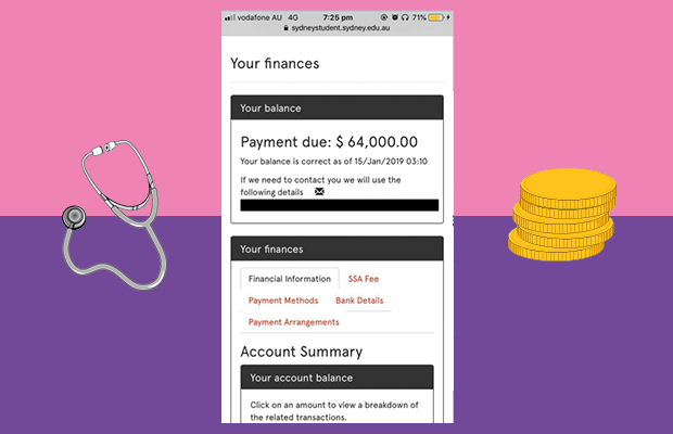 Screenshot of the increased fees displayed on Sydney student, surrounded by a graphic of a stethoscope and a pile of coins