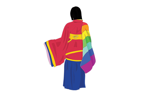 A woman wearing a red hanfu (traditional Chinese robes) slings a rainbow flag around her shoulder.