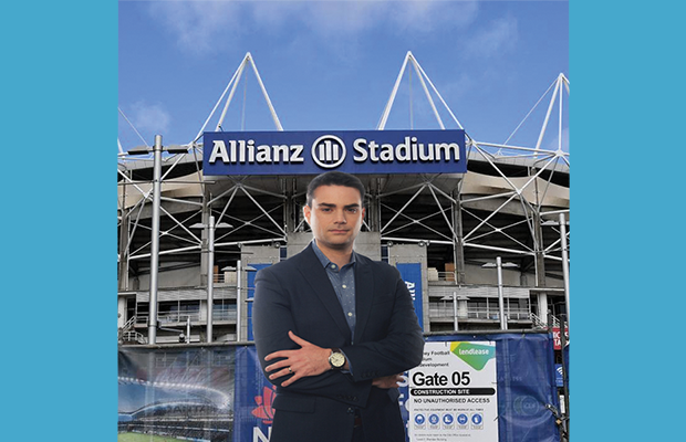 Ben Shapiro standing outside Allianz Stadium