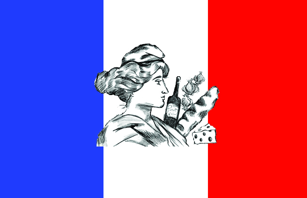 A French flag upon which there is a sketch of cheese, wine, a baguette, onions and a woman in a beret.