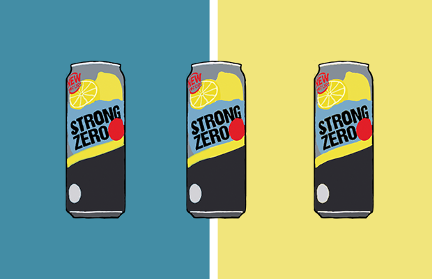 three cans of Strong Zero, which is a popular Japanese alcoholic drink