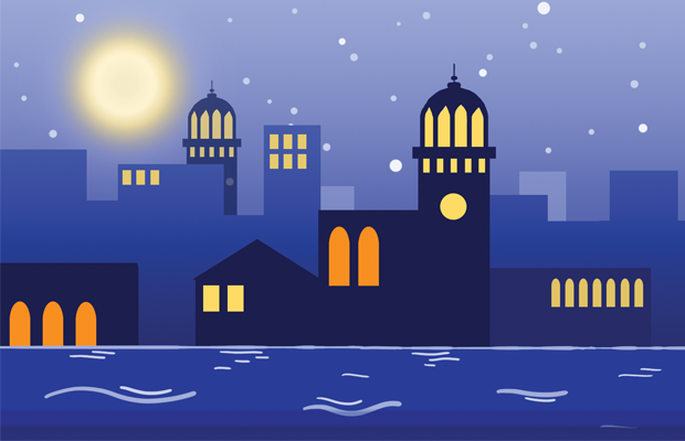 a bright moon over a blue waterfront city