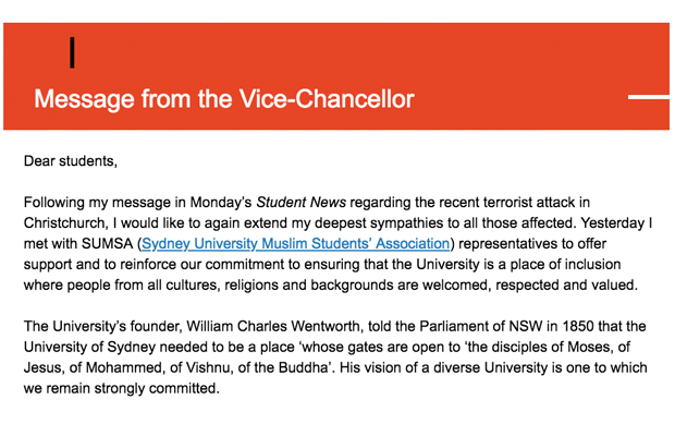 An extract of the email sent to students by Michael Spence on March 21, extracts of which are quoted in the article