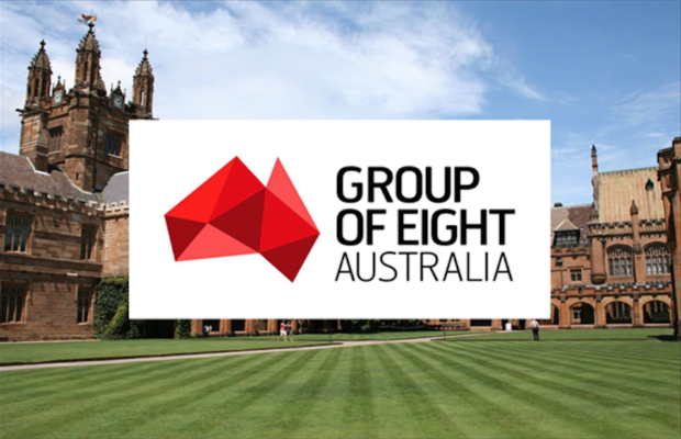 An image of the USyd quadrangle with the Group of Eight logo superimposed over the top