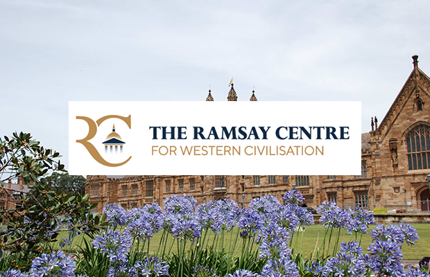In image on the University Quadrangle with the Ramsay Centre logo superimposed over the top