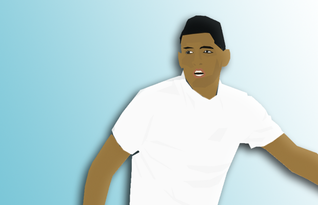 A digital illustration of Kyrgios in action against a light blue background