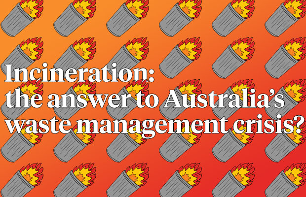 Graphic with the words: Incineration: the answer to Australia's waste management crisis?