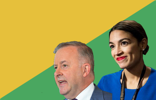 Photo of Alexandro Ocasio-Cortez and Anthony Albanese on background of green and gold