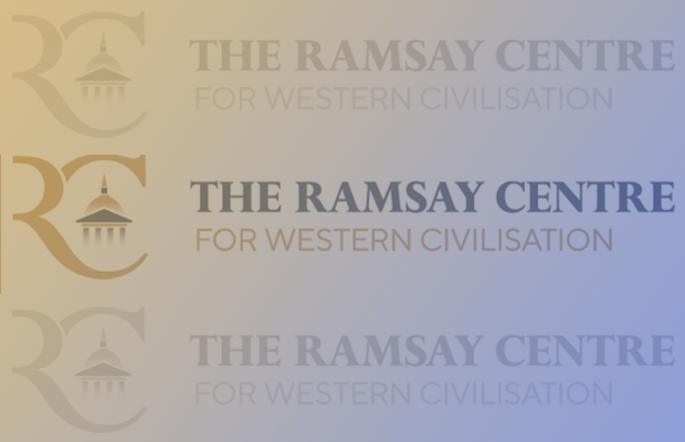 The Ramsay Centre logo repeated three times over a gold and blue gradient background