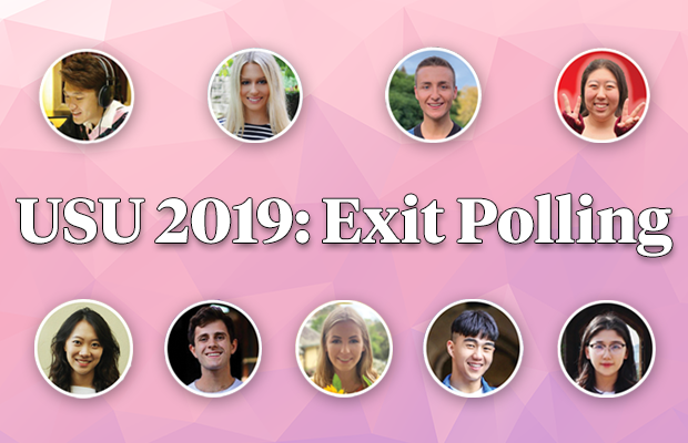 "All nine candidates over a pink background with the test ""USU 2019: Exit Polling"" in the middle"