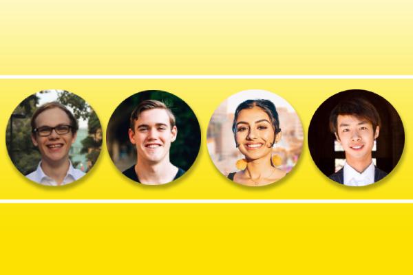 Photos of Wherrett, Finch, Eswaran, and Sun on a yellow background