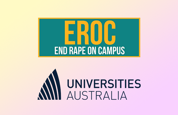Two logos: One of 'End Rape On Campus' and 'Universities Australia'