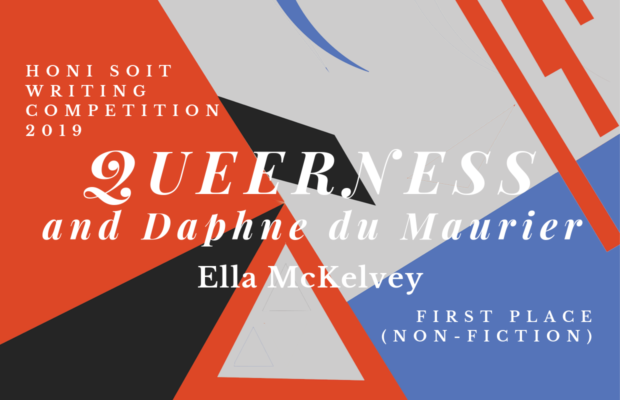 "An abstract background of red, black, grey and blue, with triangles, lines and crescents. The main text says ""Queerness and Daphne du Maurier."""