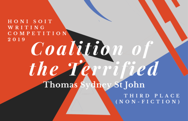"An abstract background of red, black, grey and blue, with triangles, lines and crescents. The main text says ""Coalition of the terrified."""