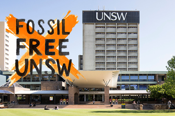 A photograph of UNSW campus library and a tower behind it with the initials UNSW at the top. Superimposed upon the photo is the Fossil Free UNSW logo: the words Fossil Free UNSW stacked on top of each other with an orange cross behind it.