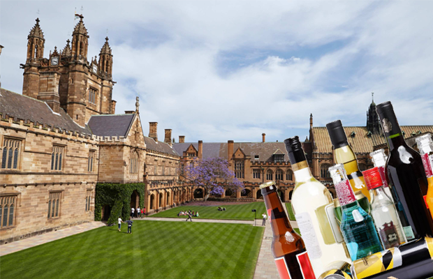 Photo of the USyd Quadrangle, and with a photo of half drunk