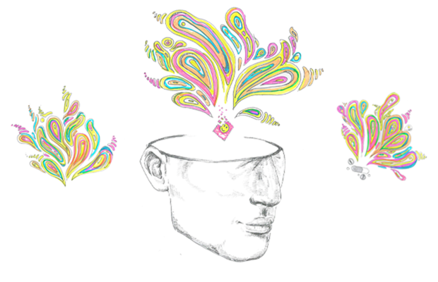 Three artworks, one is of half a hollow human head with a tab of LSD on top of it exploding into rainbow coloured patterns. On either side of this are smaller but similar patterns of rainbow colour.