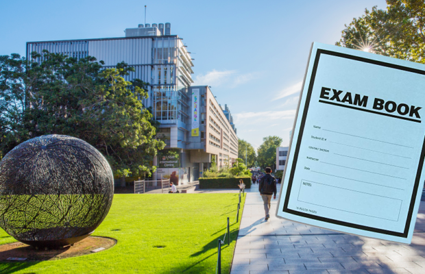 Photo of a road in UNSW, with an exam booklet superimposed on top.