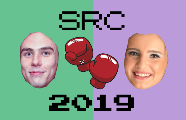 Bald disembodied heads of Jakovac and Donohoe on green and purple background with boxing gloves between them with text SRC 2019