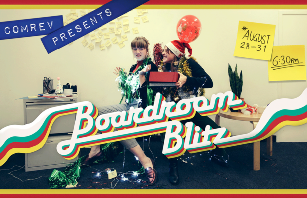 Boardroom Blitz poster, two people sit in a messy office