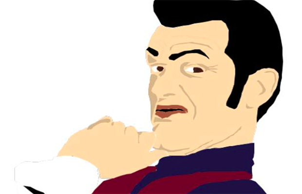 A cartoon of Robbie Rotten, with his hand resting on his chin.