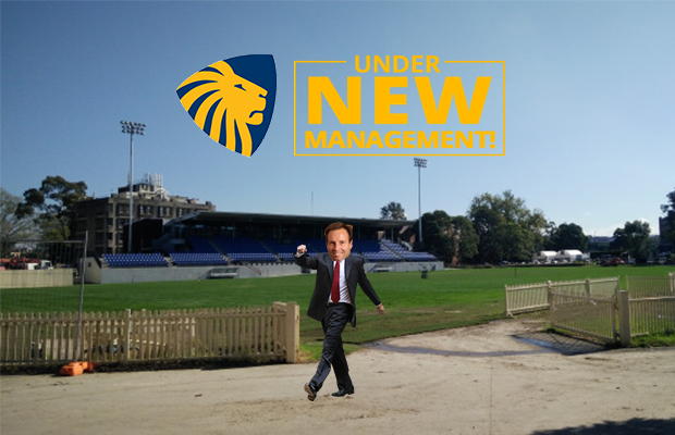 "Robert Smithies walks off Oval No.1 next to sign that says ""Under New Management"""