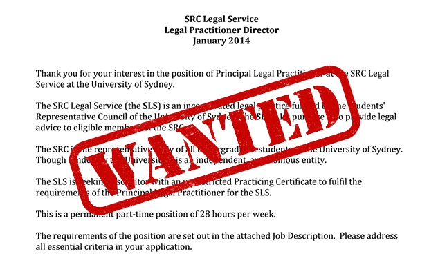"Contract for principal solicitor with ""WANTED"" in red"