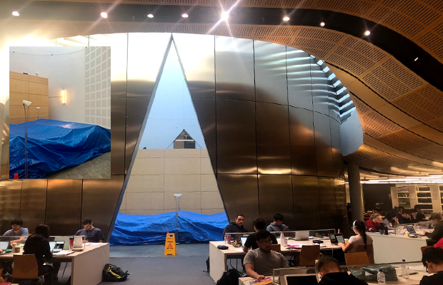 Law Library reading room with blue tarp over seats
