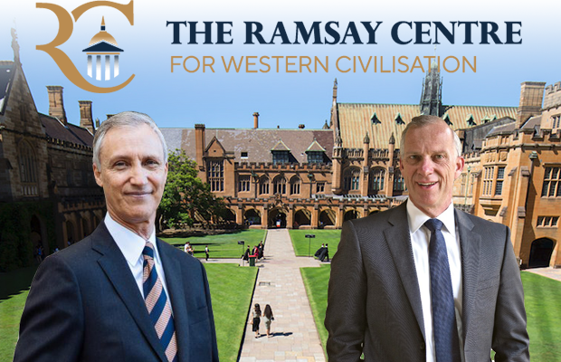 Michael Spence and Simon Haines on Quad with Ramsay logo