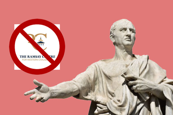 Roman senator pointing at Ramsay logo being crossed out