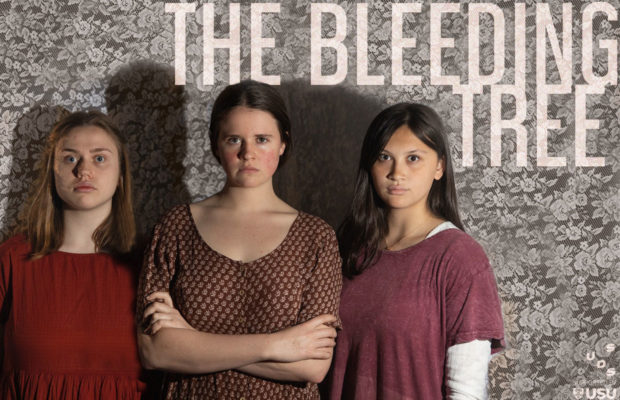 The three actors stand against a wall. THE BLEEDING TREE is written across the top.