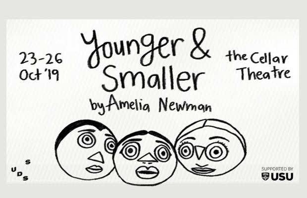Younger and Smaller poster -- three cartoon heads