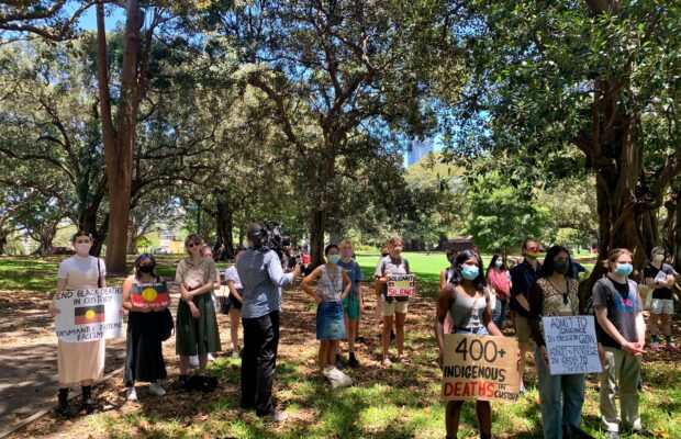 Protesters gathered at the Domain. Photography: Brianna Bullivant